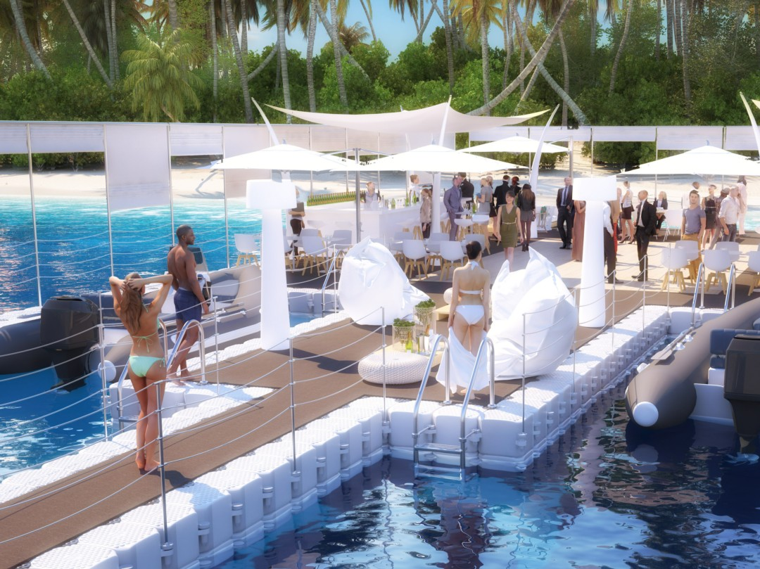 Nov'Island floating platform for event Nice Cannes Monaco St Tropez